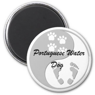 yin yang Portuguese Water Dog 2 Inch Round Magnet