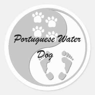 yin yang Portuguese Water Dog Classic Round Sticker