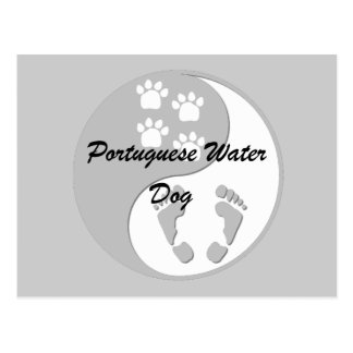 yin yang Portuguese Water Dog Postcard