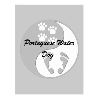yin yang Portuguese Water Dog Postcard