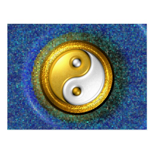 Yin-Yang Postcard, Golden Ring and Blue mosaic