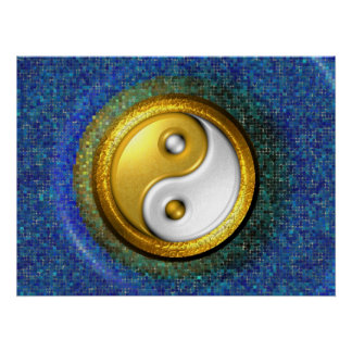 Yin-Yang Poster, Gold and Blue mosaic Poster