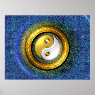 Yin-Yang Poster, Golden ring and blue mosaic Poster
