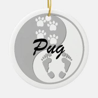 yin yang pug Double-Sided ceramic round christmas ornament