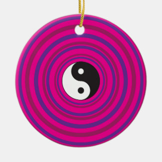 Yin Yang Purple Pink Concentric Circle Pattern Ceramic Ornament