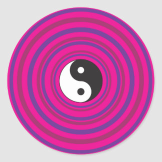 Yin Yang Purple Pink Concentric Circle Pattern Classic Round Sticker