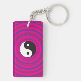 Yin Yang Purple Pink Concentric Circle Pattern Double-Sided Rectangular Acrylic Keychain