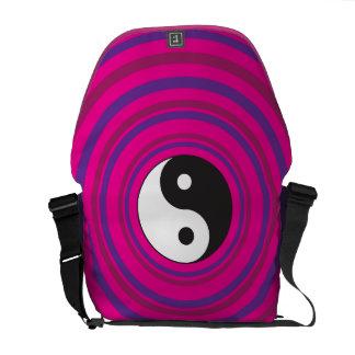 Yin Yang Purple Pink Concentric Circle Pattern Messenger Bags