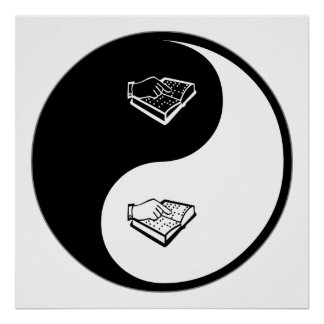 Yin Yang que enseña a la persona con deficiencias  Póster