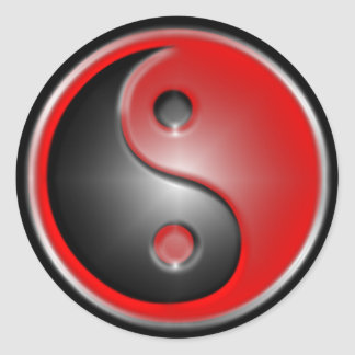yin-yang-red classic round sticker