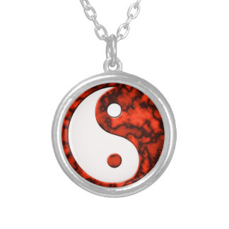 """Yin Yang Red Marble"" Silver Plated Necklace"