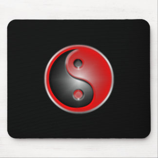 yin-yang-red mouse pad