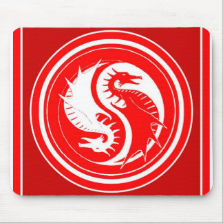 Yin Yang Red Year of the Dragon Mouse Pad