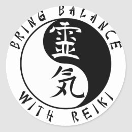 Yin Yang Reiki Kanji Classic Round Sticker