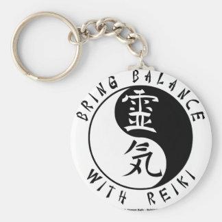 Yin Yang Reiki Kanji Basic Round Button Keychain