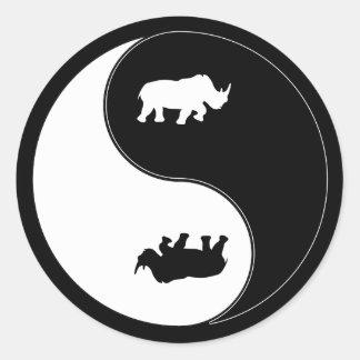 Yin Yang Rhinoceros Classic Round Sticker