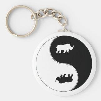 Yin Yang Rhinoceros Basic Round Button Keychain