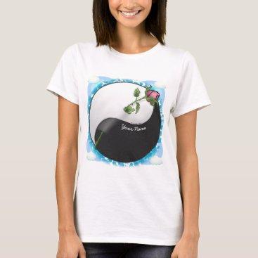 Beach Themed yin yang Rose custom name women's basic t-shirt