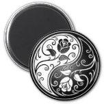 Yin Yang Roses, black 2 Inch Round Magnet
