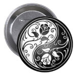 Yin Yang Roses, black 3 Inch Round Button