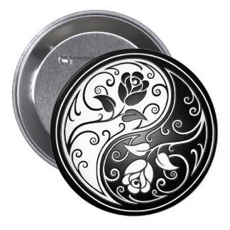 Yin Yang Roses, black Button