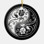 Yin Yang Roses, black Ornament