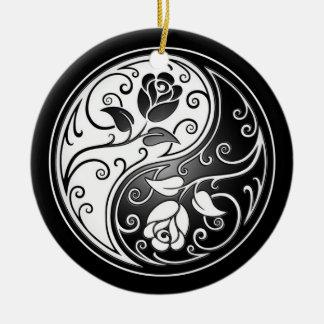 Yin Yang Roses black Ornament