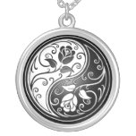 Yin Yang Roses, black Pendant