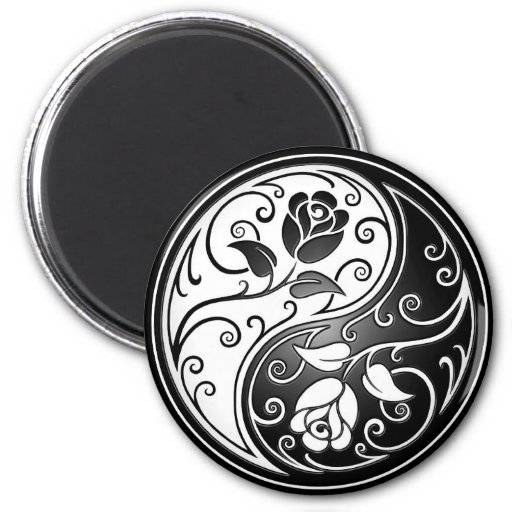 Yin Yang Roses, black Refrigerator Magnets