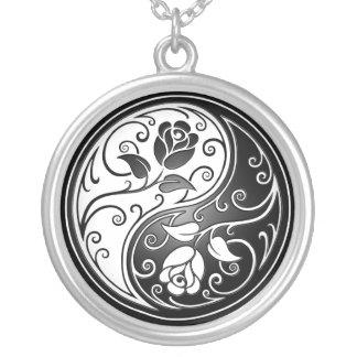 Yin Yang Roses, black Round Pendant Necklace