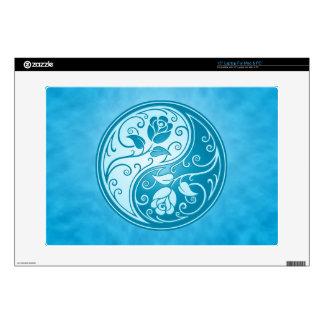 "Yin Yang Roses, blue 15"" Laptop Decals"