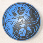 Yin Yang Roses, blue and black Beverage Coasters