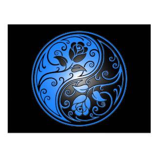 Yin Yang Roses, blue and black Postcard