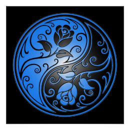 Yin Yang Roses, blue and black Poster