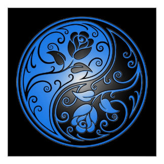 Yin Yang Roses, blue and black Poster