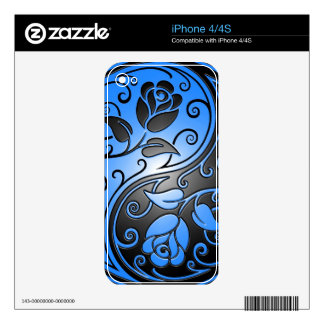 Yin Yang Roses, blue and black Decal For iPhone 4