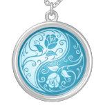 Yin Yang Roses, blue Round Pendant Necklace