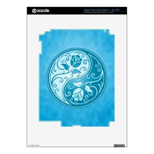 Yin Yang Roses, blue Skins For iPad 3