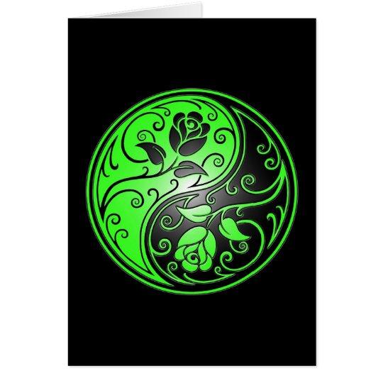 Yin Yang Roses, green and black Card