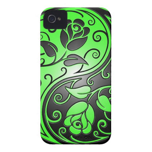 Yin Yang Roses, green and black Case-Mate iPhone 4 Cases
