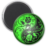 Yin Yang Roses, green and black 2 Inch Round Magnet