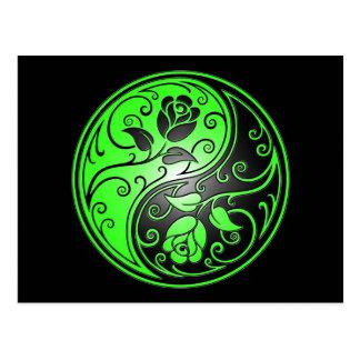 Yin Yang Roses, green and black Postcard