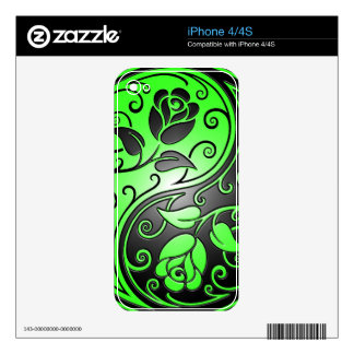 Yin Yang Roses, green and black Skin For iPhone 4