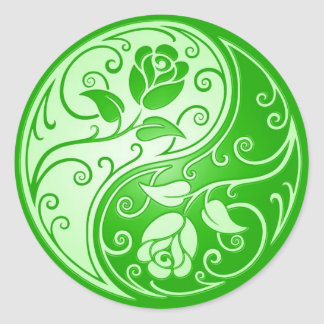 Yin Yang Roses, green Classic Round Sticker