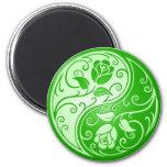 Yin Yang Roses, green Refrigerator Magnets