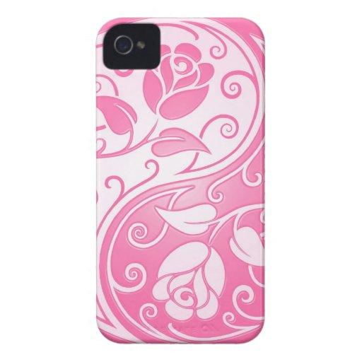Yin Yang Roses, pink iPhone 4 Case