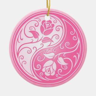 Yin Yang Roses pink Christmas Tree Ornaments