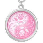 Yin Yang Roses, pink Round Pendant Necklace