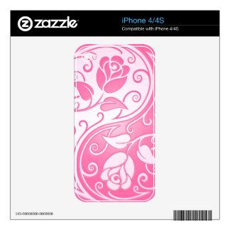 Yin Yang Roses, pink Decal For iPhone 4S