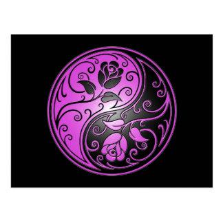 Yin Yang Roses, purple and black Postcard